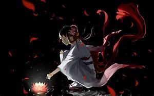 Japanese, Women, Anime, Girl, Kimono, Red, Lotus, Flower, Wallpapers, Hd, Desktop, And, Mobile