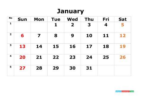 printable calendar template january     image