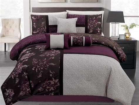 piece king plum  gray floral block quilted comforter