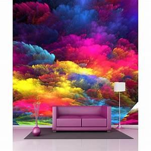 Papier Peint Geant : papier peint g ant nuages de couleurs 250x250cm art d co ~ Premium-room.com Idées de Décoration