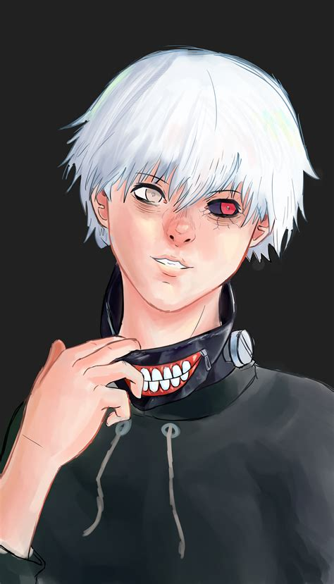Sad Anime Boy With White Hair And Spooky Mask By Narfwin