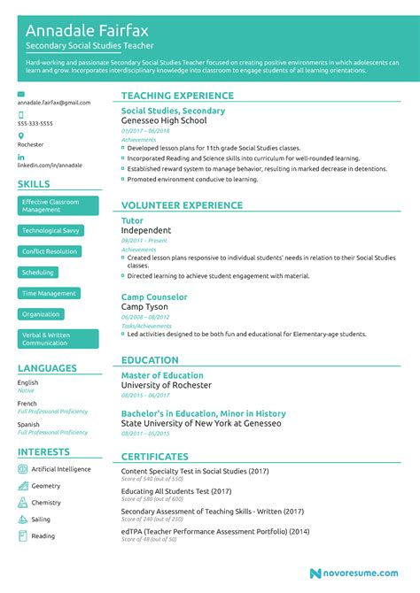 teacher resume exle 2019 guide exle
