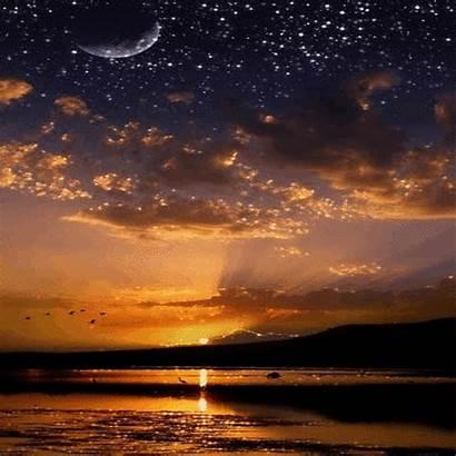 Sunset Nuit Gifs Soleil Coucher Moonlight Lune