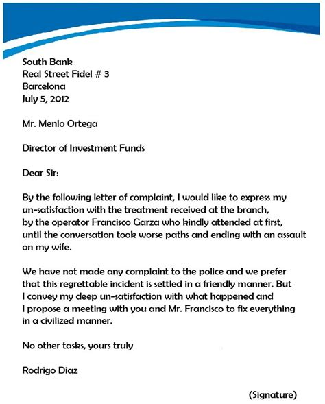 complaint letter to the bank template complaint letter sles writing professional letters