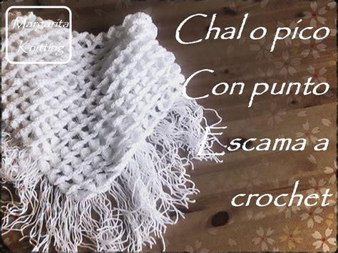 chal o pico a crochet con punto escama diestro