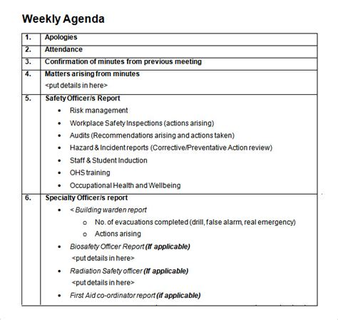 weekly agenda samples sample templates