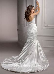 stunning mermaid sweetheart ruched satin wedding dress With ruched mermaid wedding dress