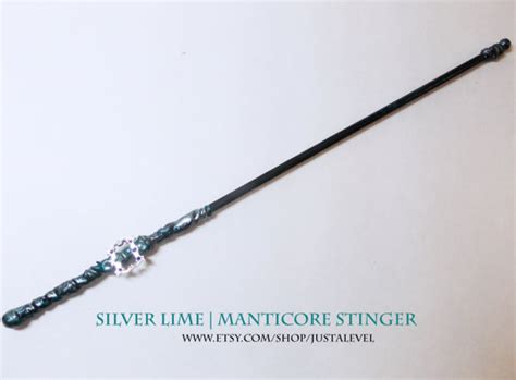 blue fairy harry potter inspired wand silver lime manticore