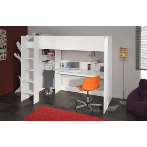lit mezzanine ado avec bureau et rangement dave lit surélevé enfant avec sommier bureau et