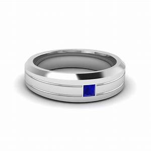 Bezel Princess Mens Engagement Ring With Sapphire In 14k