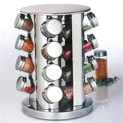 plan de travail cuisine inox présentoir tourniquet et ses 16 pots à épices maison futée