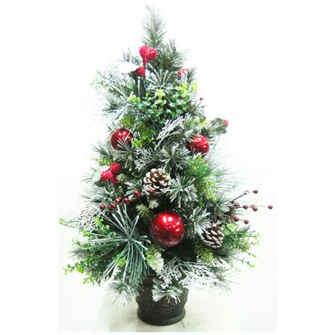 60cm 2ft tabletop flocked christmas tree with red baubles