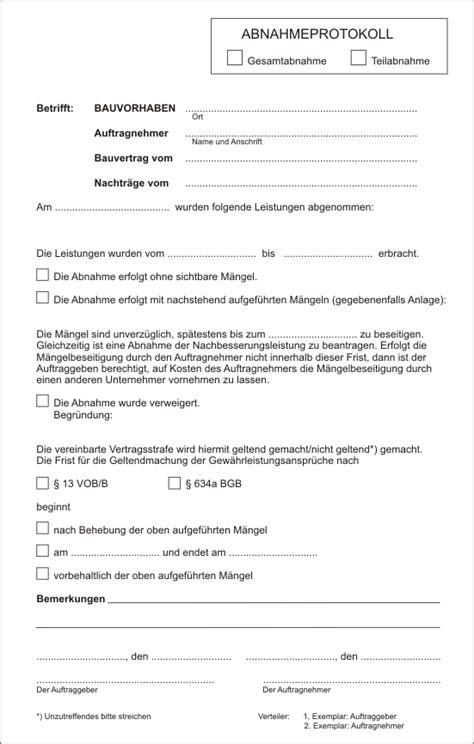 abnahmeprotokoll mietwohnung muster abnahmeprotokoll baupreis informationen normen und richtlinien ausschreibungstexte