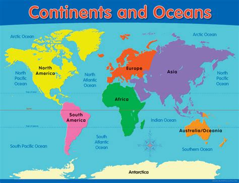 Continents And Oceans Educational Chart (ch6246) Science
