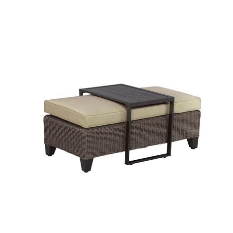 brown vineyard patio ottoman coffee table with