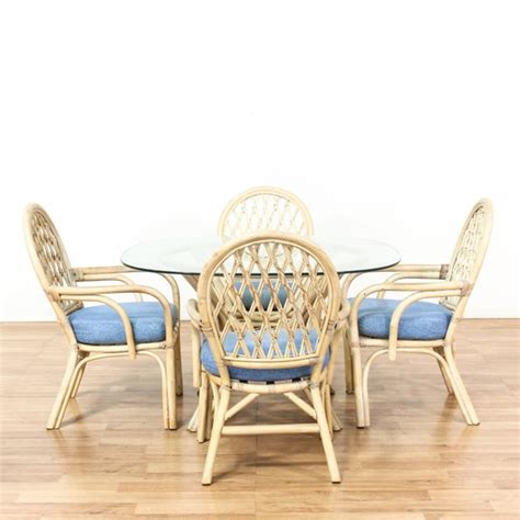 rattan kitchen furniture glass top rattan kitchen table w 4 chairs loveseat