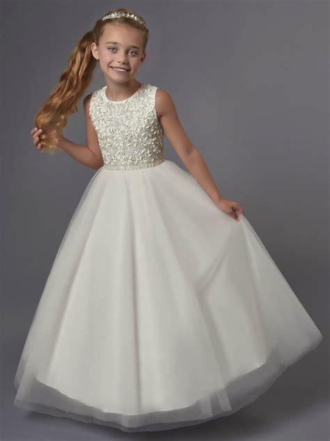 princess beaded tulle tea length wedding flower girl dress
