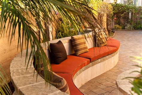 curved outdoor seating landscape contemporary with curved