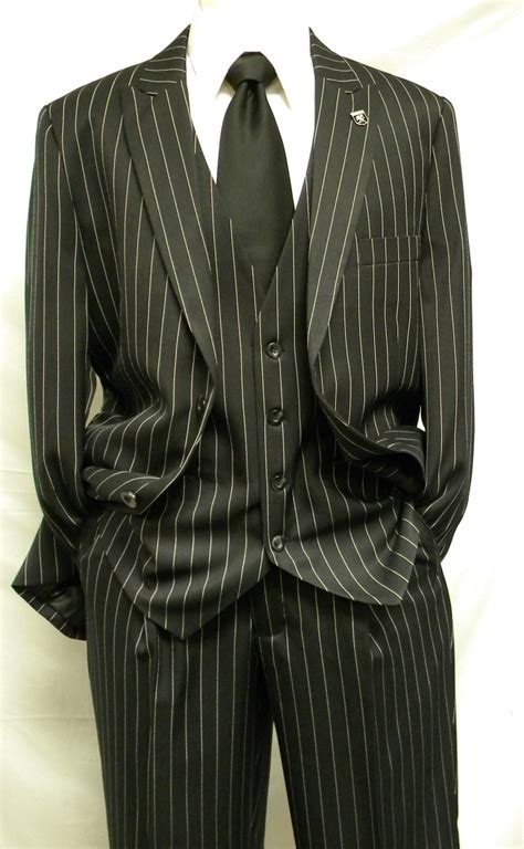 Stacy Adams Black and White Gangster Stripe Fashion Suit