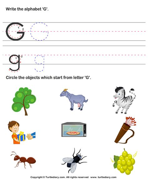 identify words that start with g worksheet turtle diary 499   identify words that start with g