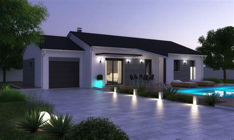 plan de maison plain pied 3 chambres avec garage terrain brioude avec maison contemporaine