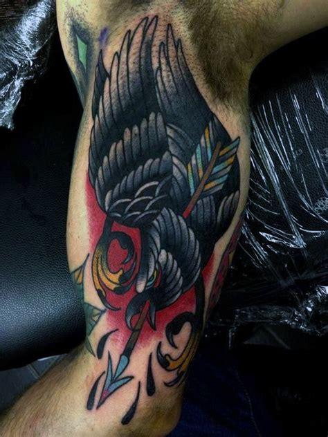 traditional crow tattoo designs  men  school birds