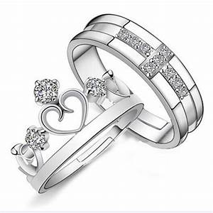silver prince princess queen couple rings wedding band his With promise ring engagement ring and wedding ring set