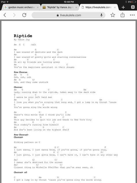 It contains 144 guitar chords you can use as a reference guide when you next sit down. Riptide ʻUkulele Chords By Vance Joy | Ukulele songs, Ukulele tabs songs, Ukulele chords songs