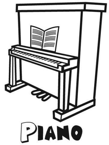 ¿te gusta identificar los instrumentos musicales que se usan en las canciones? Dibujo para pintar un piano, instrumentos musicales para niños