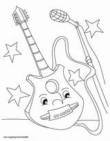 Guitar Coloring Electric Pages Printable Getdrawings Getcolorings Colouring sketch template