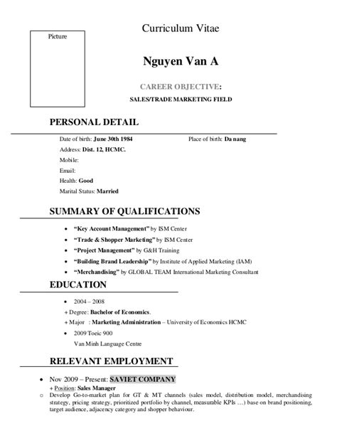 sle resume sales english