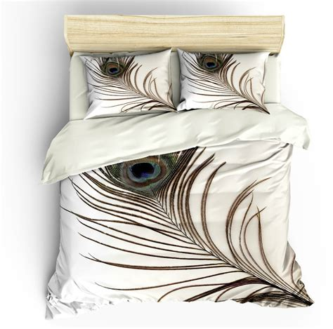 sale peacock feather bedding set king duvet cover pillow