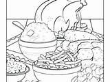 Coloring Thanksgiving Pages Dinner Feast Drawing Getcolorings Getdrawings sketch template