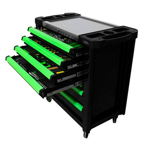 Instrumentu rati zaļi XL ar 7 lādēm un 192 instrumentiem