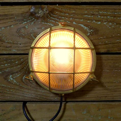 caged bulkhead wall light marine brass caged bulkhead wall light