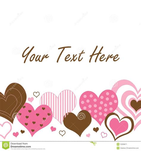 brown  pink hearts border stock image image