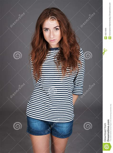 Red Haired Girl With Freckles In The Studio Teen Girl
