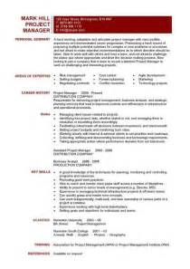 project manager resume template it project manager cv template project management prince2 cv exle resume erp
