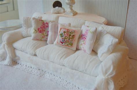 shabby chic slipcovered sofas dollhouse miniature shabby chic white wrinkle slipcover sofa