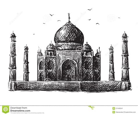 Black And White Sketch Taj Mahal Pencil Drawing Collection