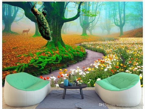 beautiful scenery fairyland peacock tv background wall