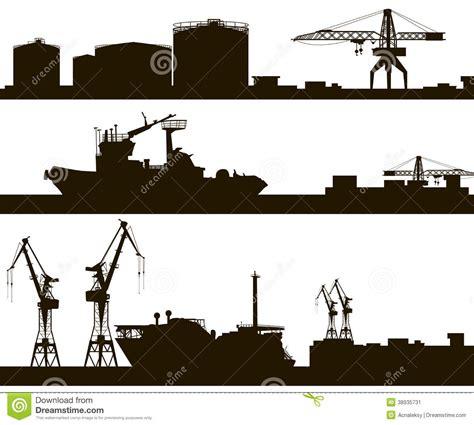 harbor skyline silhouette stock vector image