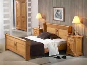 Lit Bois Massif Design : lit rustique bois massif table de lit ~ Teatrodelosmanantiales.com Idées de Décoration