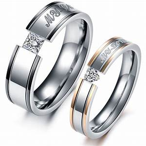 fashion heart aaa cubic zirconia rhinestone steel couple With couples wedding ring set