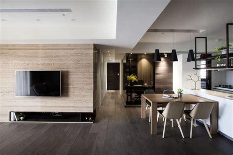 faux plafond cuisine ouverte parquet foncé lambris bois et parement en 25 photos