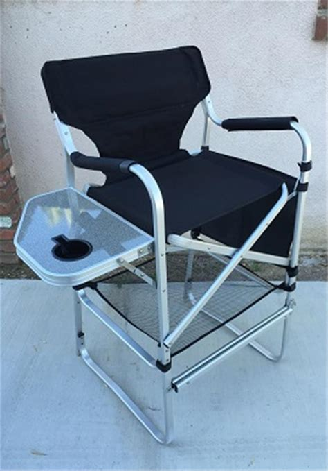 deluxe extra tall folding directors chair  side table