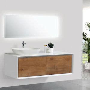 Unterschrank Mit Aufsatzwaschbecken by Badm 246 Bel 120 Cm Eiche Led Spiegel Aufsatzwaschbecken
