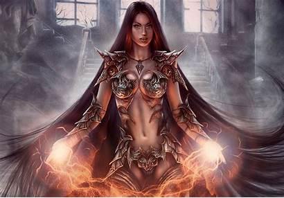 Warrior Fantasy Warriors Armor Magic Female Background