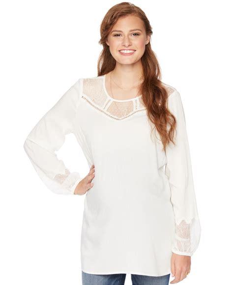 white maternity blouse wendy bellissimo maternity lace trim blouse in white lyst