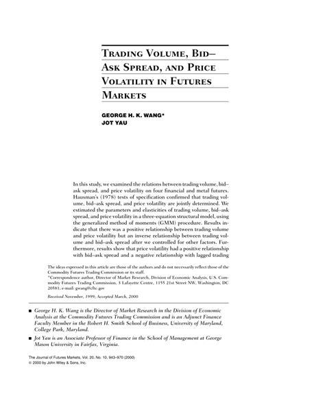 bid e ask pdf trading volume bid ask spread and price volatility